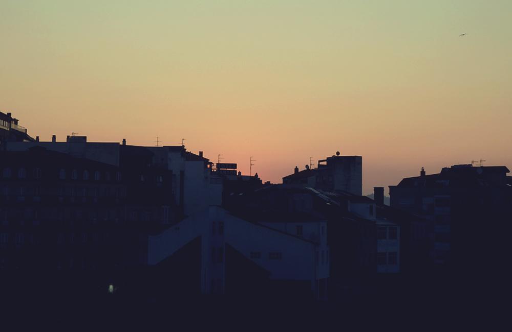 スペインのヴィーゴの夕日 2014