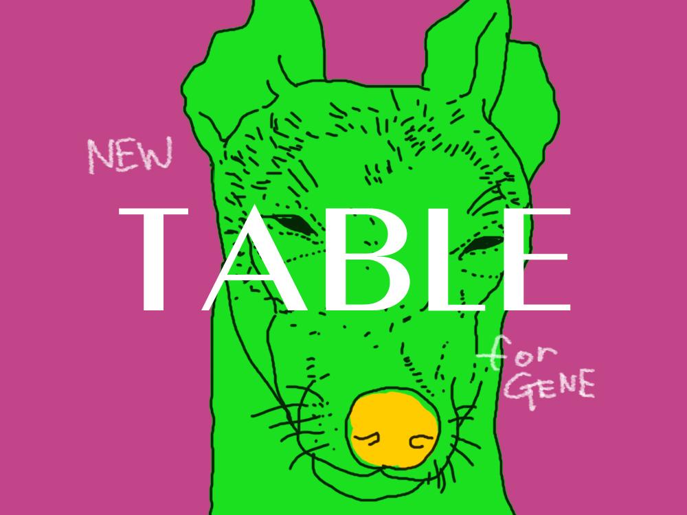 犬ジーンのテーブル
